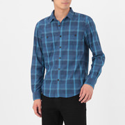 Polyester Double Pocket Check Sht Smky Blue S