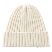 Less Itchiness Wide Ribbed Washable Watch Cap Ivory