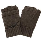 Half-finger Gloves Doubling As Mittens Mocha Brwn M