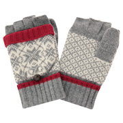 Half-finger Gloves Doubling As Mittens L.gray M