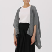 Wool Silk Cape Stole With Arm Hole Gray