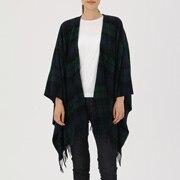 Large Yak Wool Multi Cape Stole (pattern) Dark Green