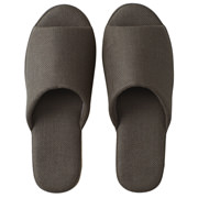 *linen Twill Cushion Optoe Slipper L Dgry S17