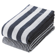 Organic Ct Stripe F/towel Set Nvy S17