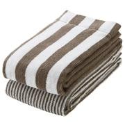 Organic Ct Stripe F/towel Set Lt Brn S17