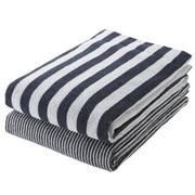 Organic Ct Stripe B/towel Set Nvy S17