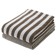 Organic Ct Stripe B/towel Set Lt Brn S17