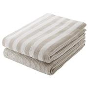 Organic Ct Stripe B/towel Set Lt Gry S17