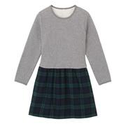 Ogc Flannel Check L/s Fabric Mix Dress Medium Gy 110