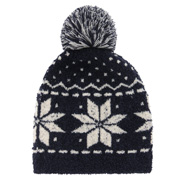 Stretchy Hat With Bon Bon Navy*pttn