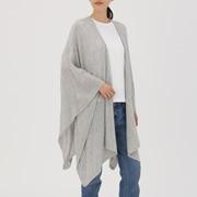 Large Yak Wool Knit Multi Cape Stole Light Gray