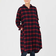 Ogc Flannel Check Shirt Dress Red Xs - S