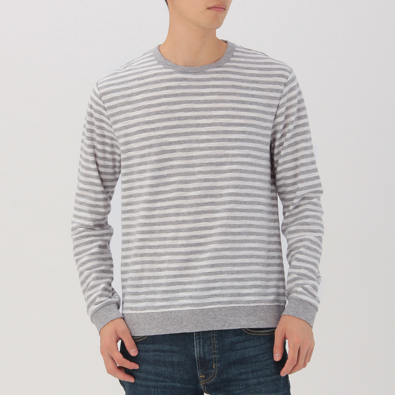 OGC UNEVEN YARN BORDER CREW NECK L/S T SHIRT