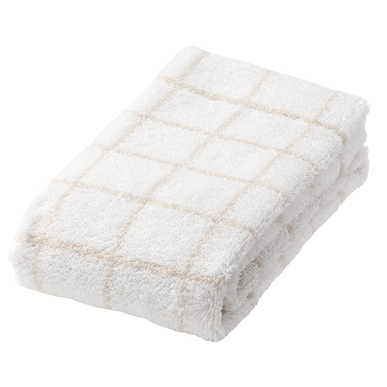 Beige Check medium face towel