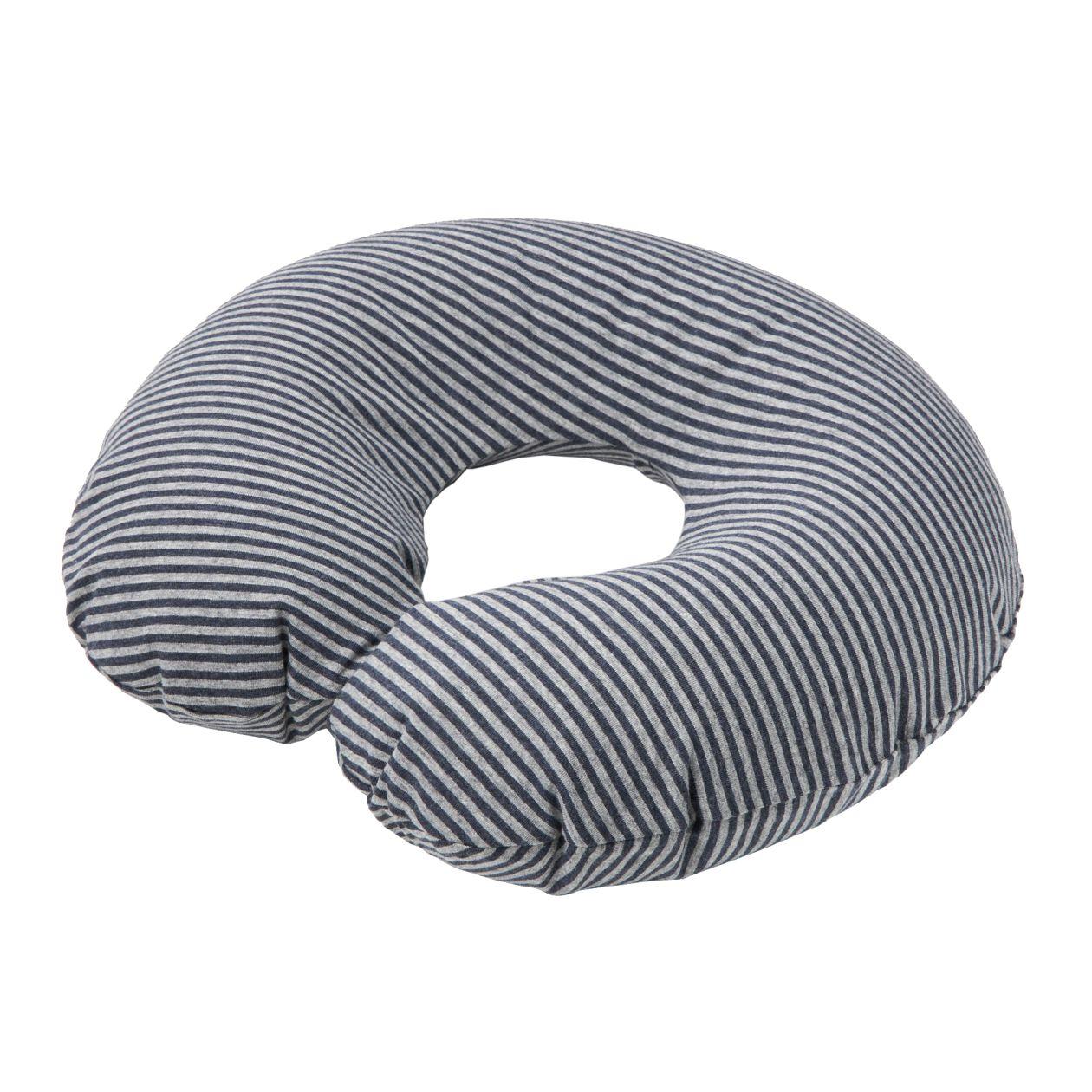 [무인양품] 면 저지 휴대용 넥 쿠션 멜란지 네이비×멜란지 그레이・약37×45cm MUJI 일본 공식스토어
