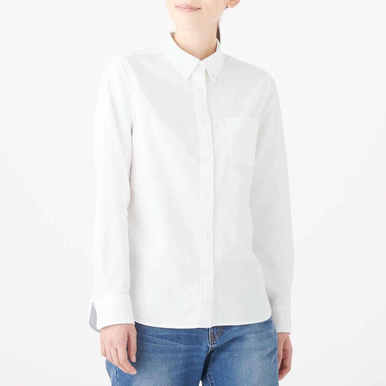 [무인양품] 면 100% 워싱 옥스 버튼 다운 셔츠 여성XXL・흰색 MUJI 일본 공식스토어