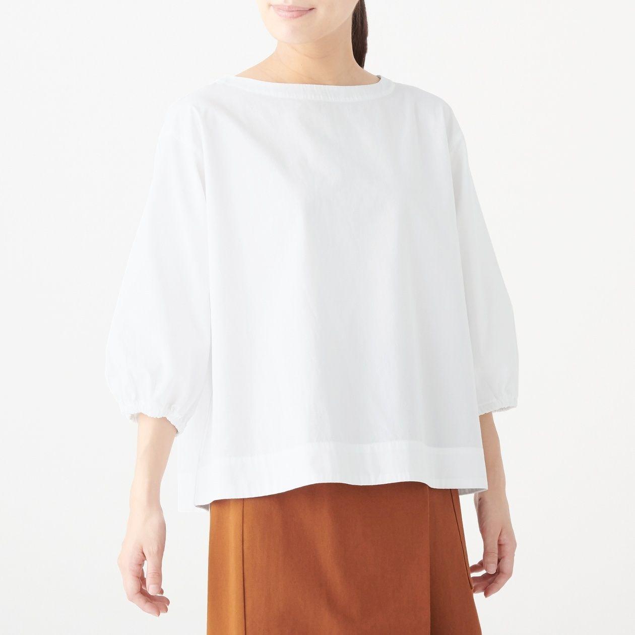 [무인양품] 면 100% 워싱 브로드 5부 블라우스 여성XS~S・흰색 MUJI 일본 공식스토어