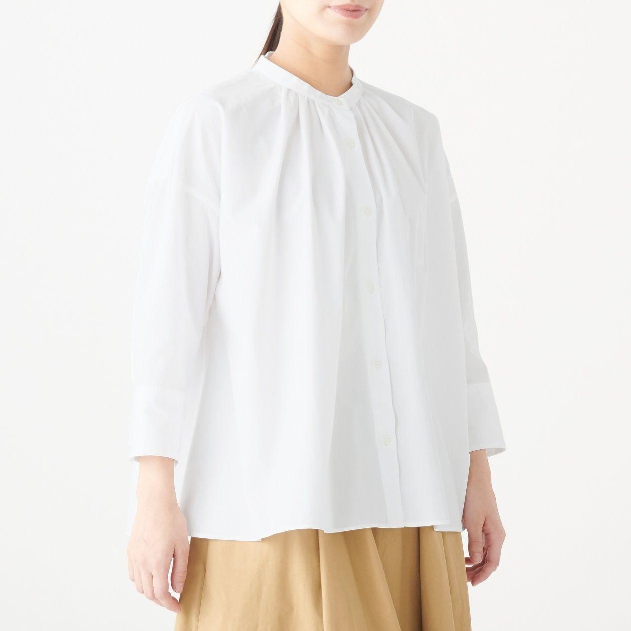 [무인양품] 면 100% 워싱 브로드 7부 블라우스 여성XS~S・흰색 MUJI 일본 공식스토어