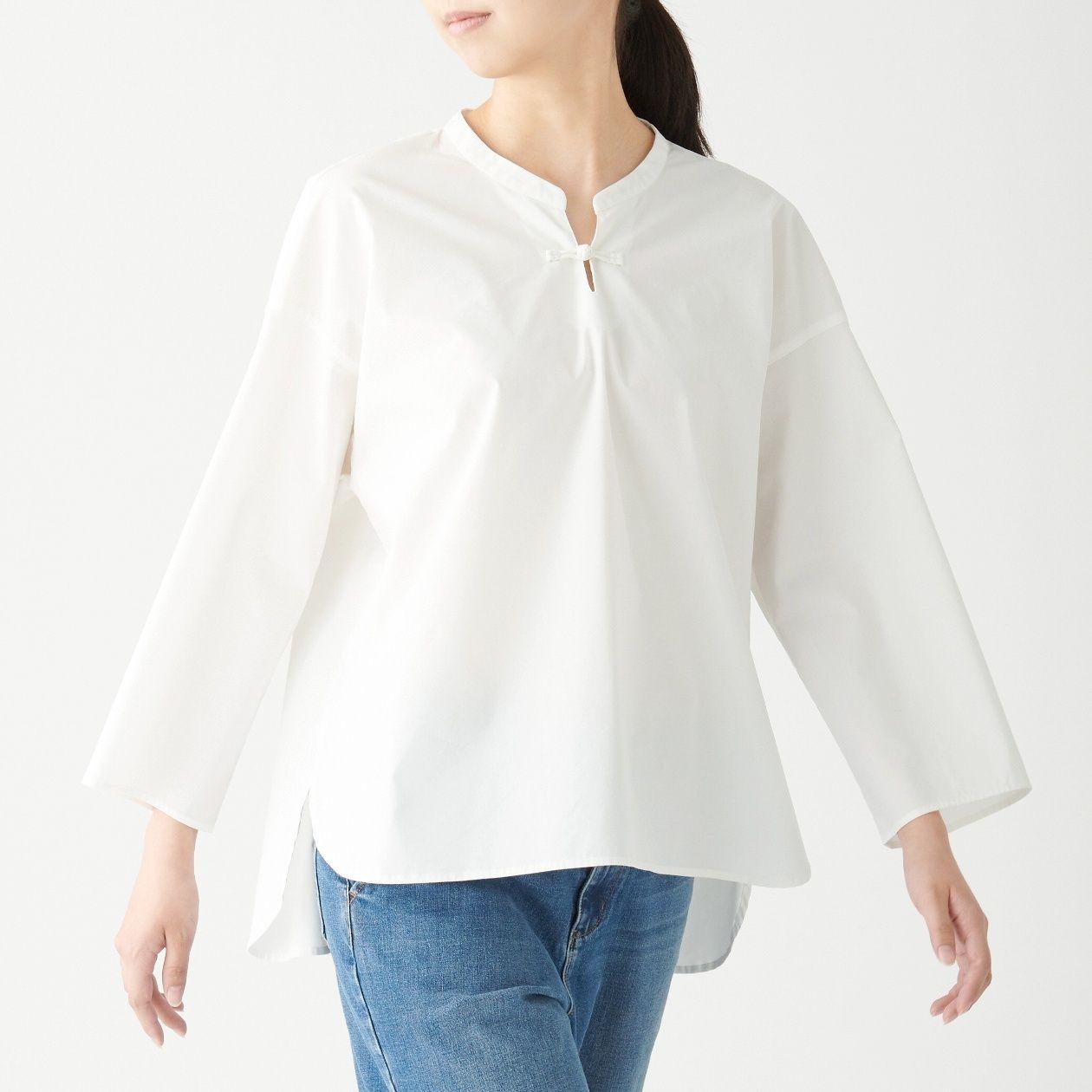[무인양품] 매듭 단추 스탠드 칼라 블라우스 ONE SIZE・흰색 MUJI 일본 공식스토어