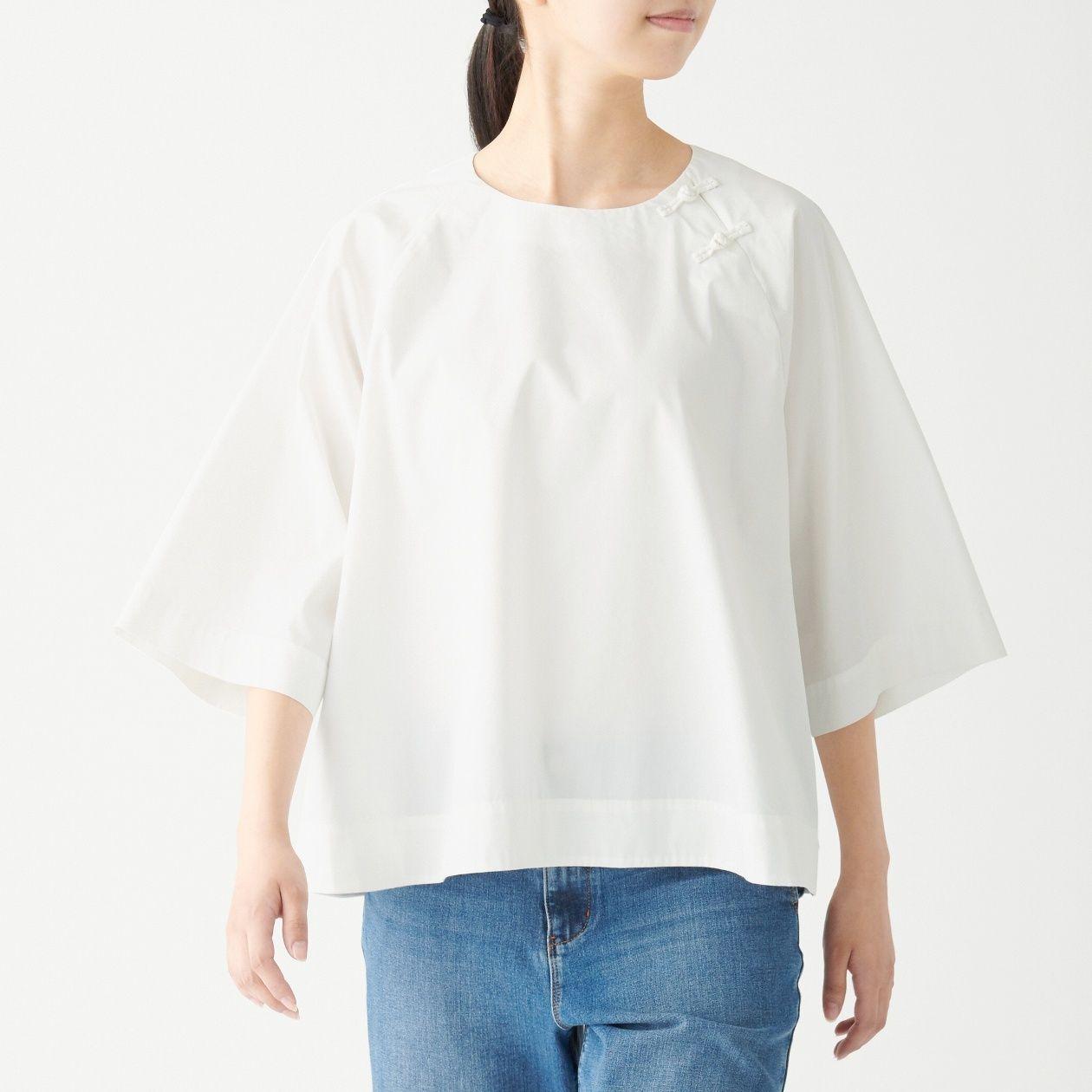 [무인양품] 매듭 단추 크루넥 블라우스 ONE SIZE・흰색 MUJI 일본 공식스토어