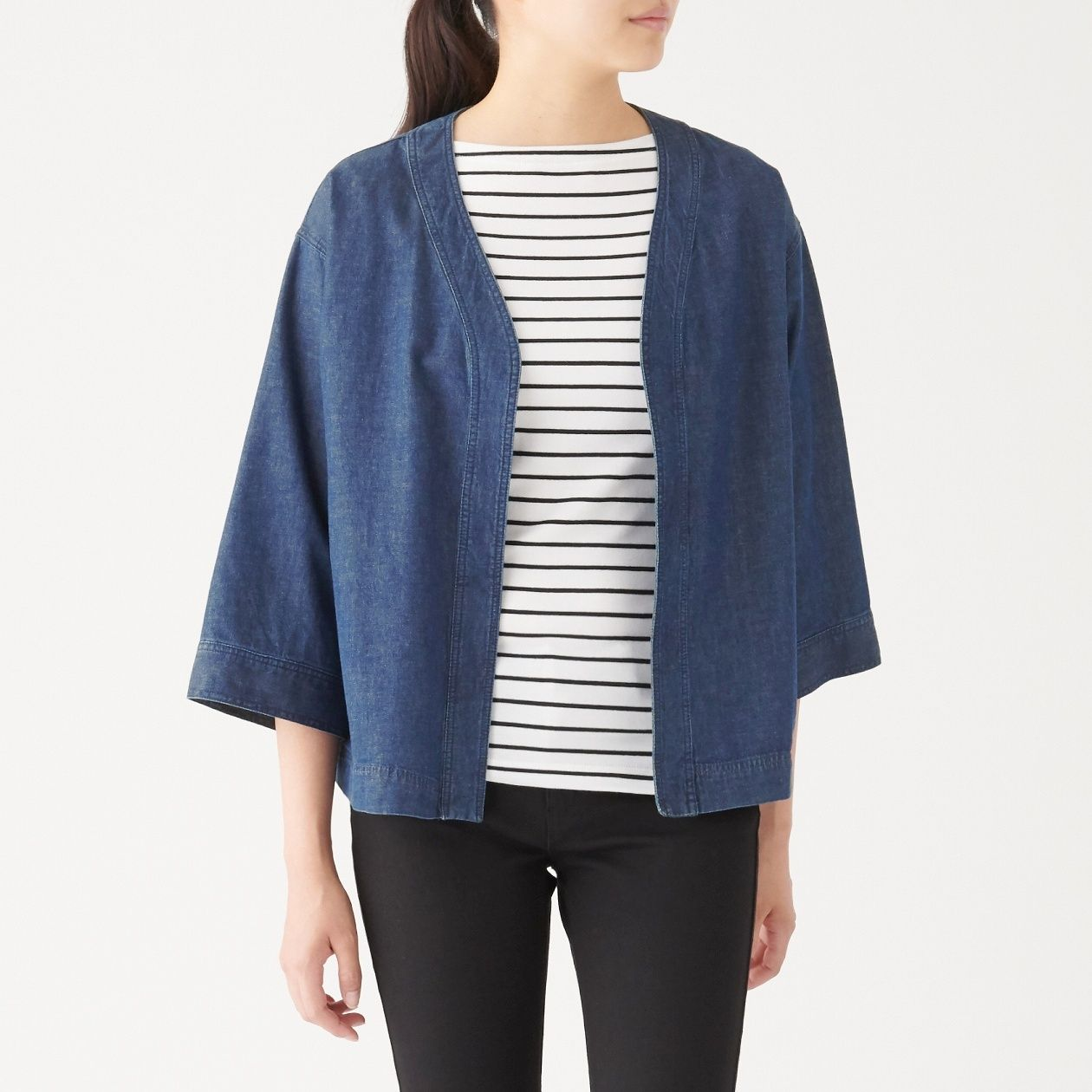 INDIAN COTTON DENIM CARDIGAN