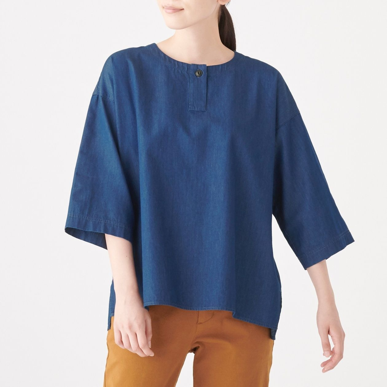INDIAN COTTON DENIM PULLOVER BLOUSE