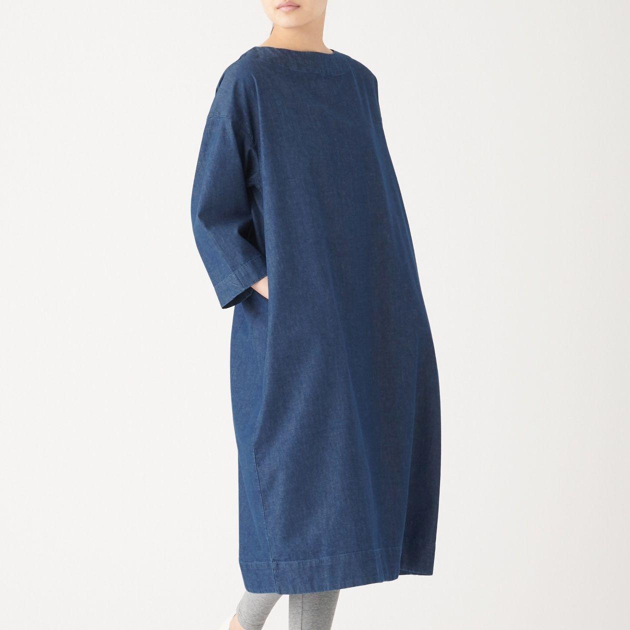 INDIAN COTTON DENIM PULLOVER DRESS