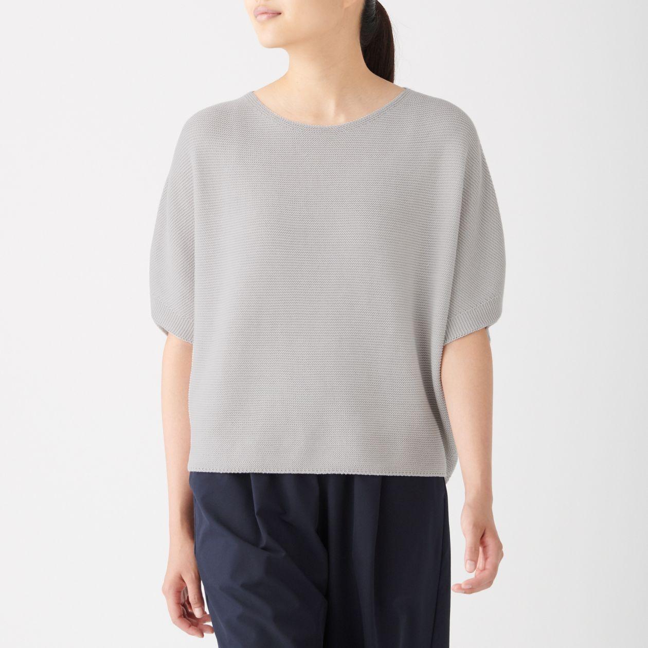 [무인양품] 이음매 없는 뜨개질 와이드 스웨터 ONE SIZE・라이트 실버 그레이 MUJI 일본 공식스토어