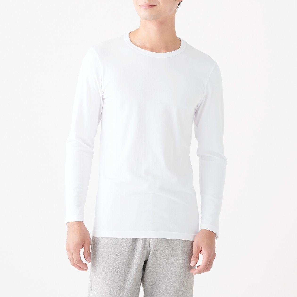 [무인양품] 따뜻한 면 크루넥 긴소매티셔츠 남성 MUJI 일본 공식스토어