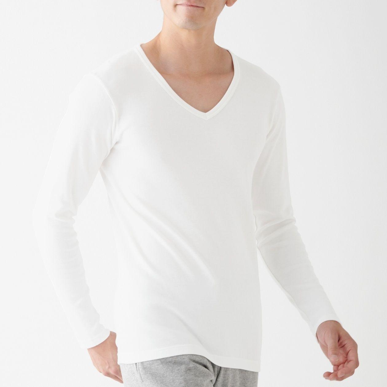 [무인양품] 면과 울로 한겨울도 따스한브이넥(V넥) 긴소매티셔츠 남성・오프화이트 MUJI 일본 공식스토어