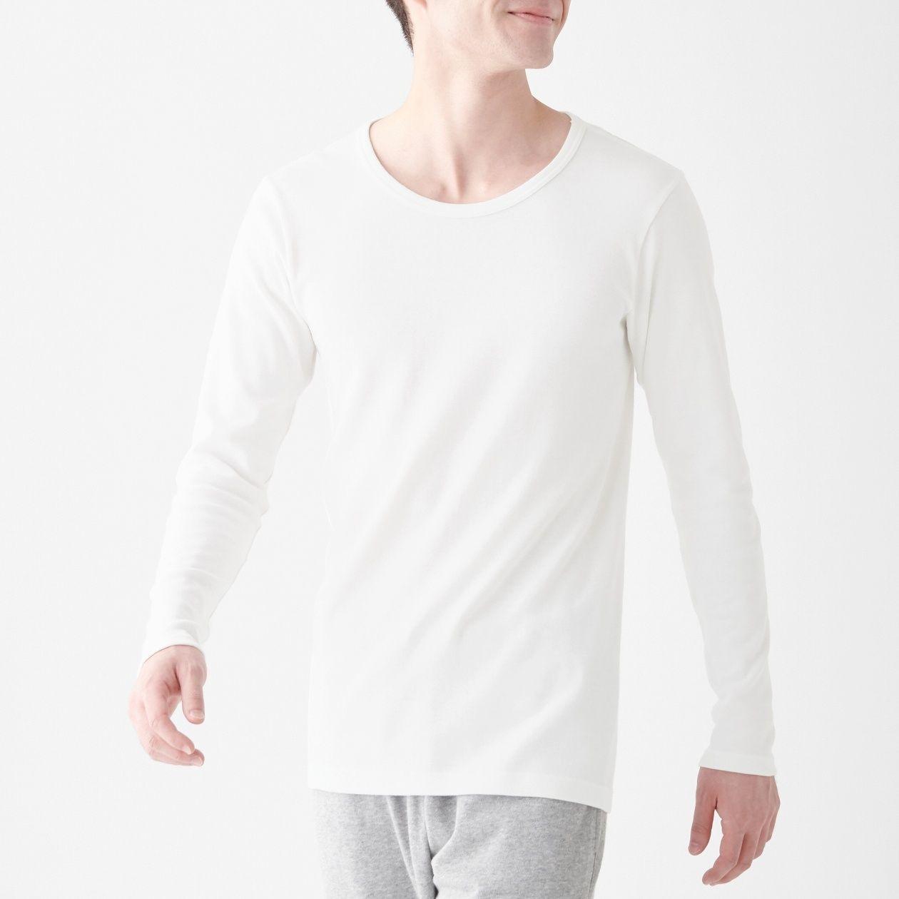 [무인양품] 면과 울로 한겨울도 따스한 크루넥 긴소매티셔츠 남성 MUJI 일본 공식스토어