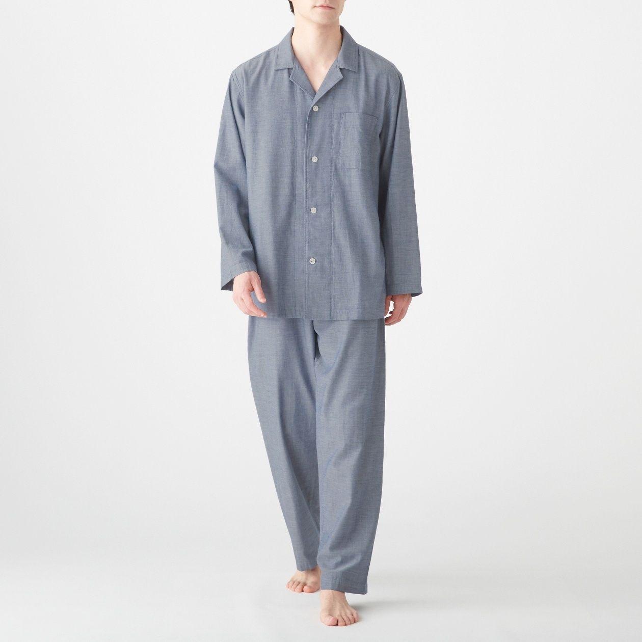 [무인양품] 겨드랑이 솔기 없는 이중 거즈 파자마 남성 MUJI 일본 공식스토어