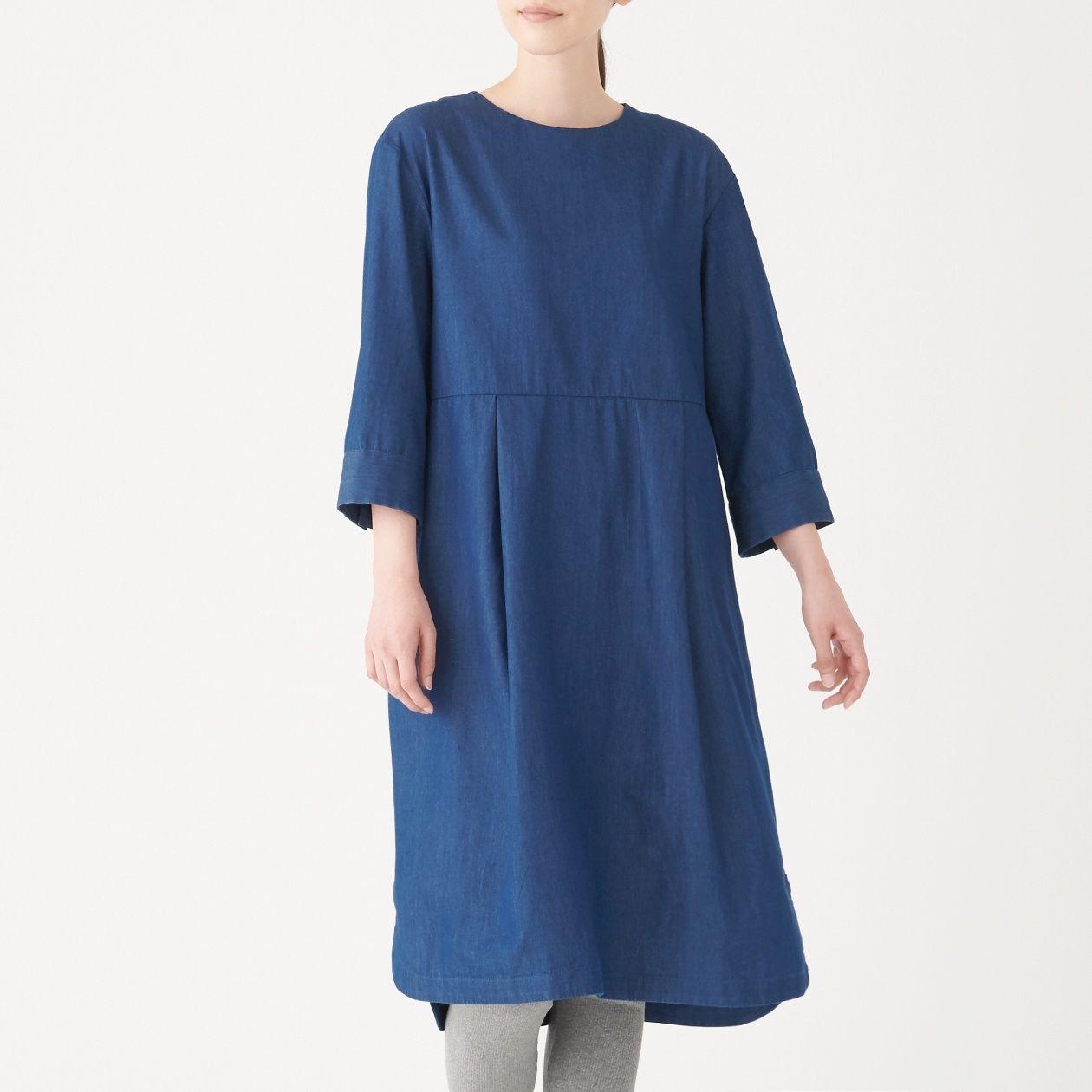 [무인양품] 인도산면 데님 크루넥 원피스 여성S・다크 네이비 MUJI 일본 공식스토어