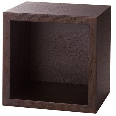 壁に付けられる家具・箱・1マス・タモ材/ブラウン/幅19×奥行15.5×高さ19cmの写真