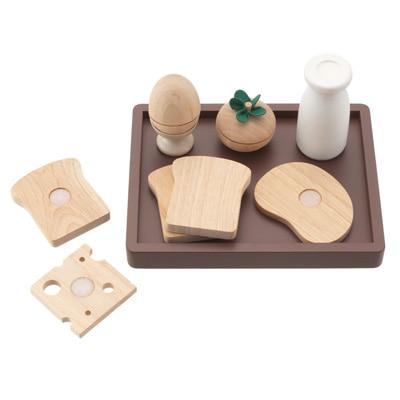 木製玩具 朝食・トレーセット 全8品_対象年齢2歳以上