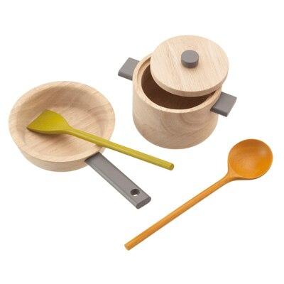 木製玩具 フライパン・おなべセット ターナー、レイドル付_対象年齢2歳以上