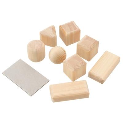 国産(丹沢産)ひのき・端材 おとなが仕上げるつみき つみき8個・サンドペーパー付