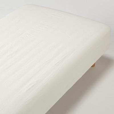 洗いざらしの綿ボックスシーツ・SS/生成 80×200×18~28cm用
