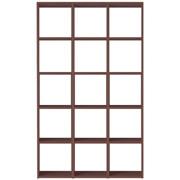 【数量限定】スタッキングシェルフセット・5段×3列・ウォールナット材/幅122×奥行28.5×高さ200cmの写真