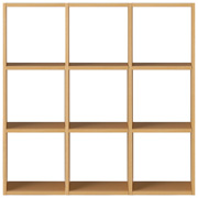 スタッキングシェルフセット・3段×3列・オーク材/幅122×奥行28.5×高さ121cmの写真