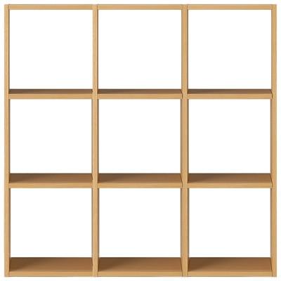 【数量限定】スタッキングシェルフセット・3段×3列・オーク材 幅122×奥行28.5×高さ121cm
