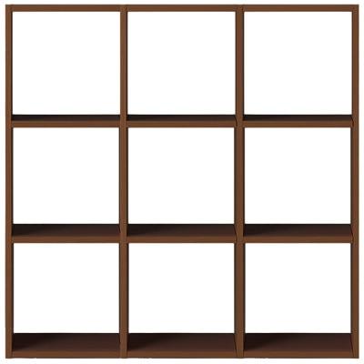 【数量限定】スタッキングシェルフセット・3段×3列・ウォールナット材 幅122×奥行28.5×高さ121cm