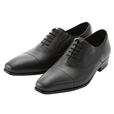 ストレートチップ革靴 紳士・25.0cm・黒