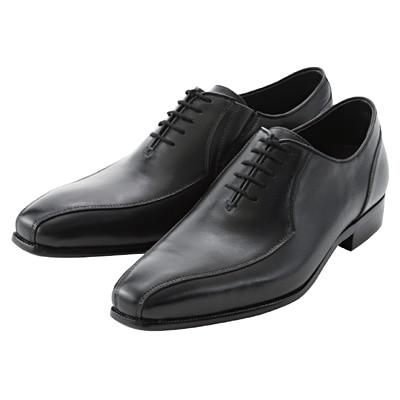 ステッチ革靴 紳士・25.5cm・黒