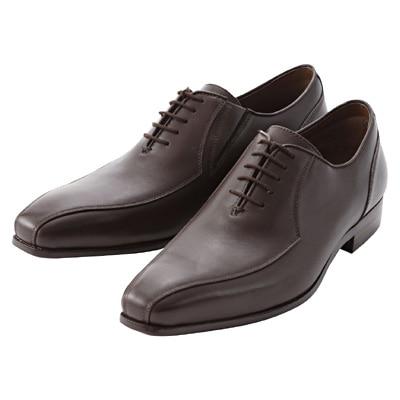 ステッチ革靴 紳士・25.0cm・濃茶
