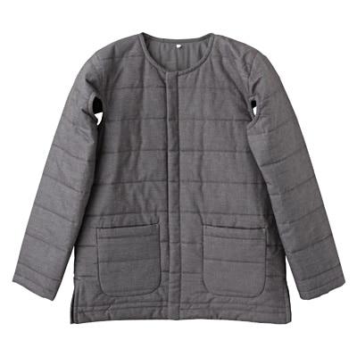 綿シルクデニムキルティングジャケット 男女兼用・S・グレー