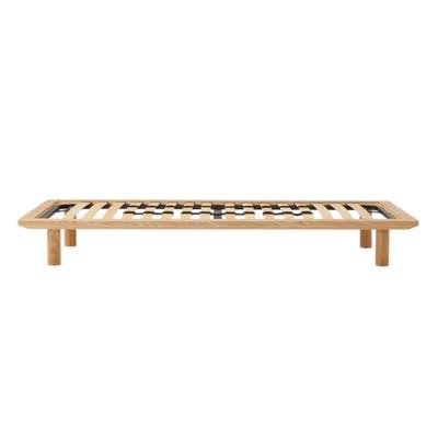 木製ベッドフレーム・スモール・タモ材/ナチュラル 幅85.5×奥行202×高さ25.5cm