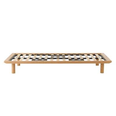 木製ベッドフレーム・ダブル・タモ材/ナチュラル 幅147×奥行202×高さ25.5cm