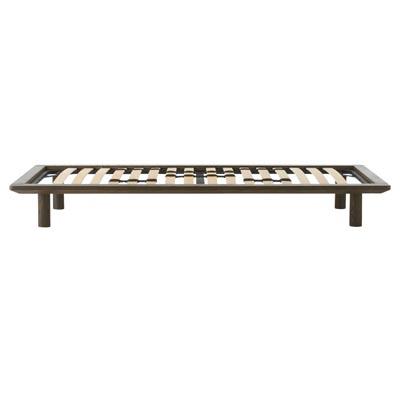 木製ベッドフレーム・スモール・タモ材/ブラウン 幅85.5×奥行202×高さ25.5cm