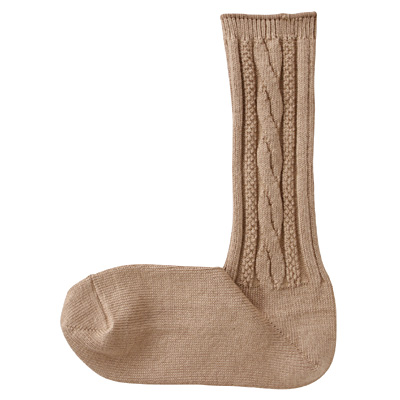 重ねて履く足なり直角靴下 スーピマ綿混ケーブル柄靴下 婦人・23~25cm・茶